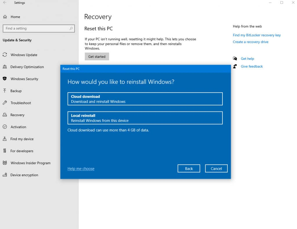 Reset Windows 10 with Cloud Download Option