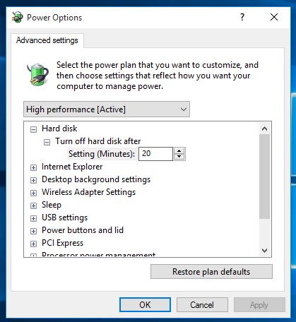Advanced power option settings in Windows