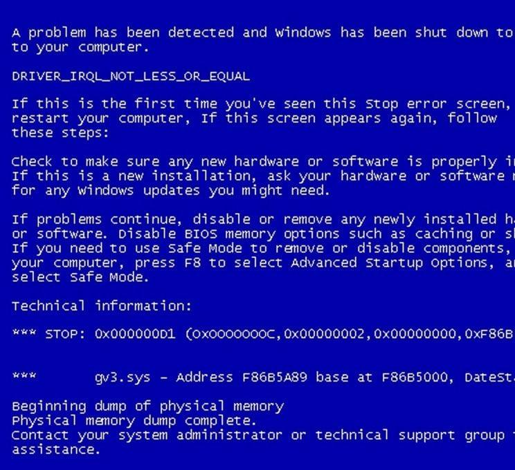Error Blue Screen