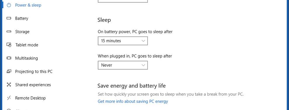 power sleep options