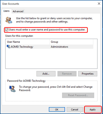 Login password in Windows 10