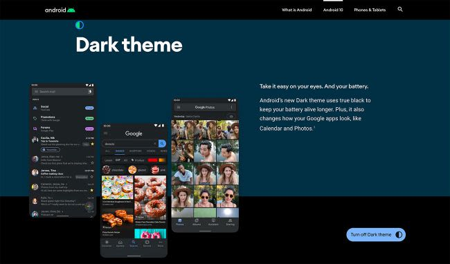 Dark theme for Android