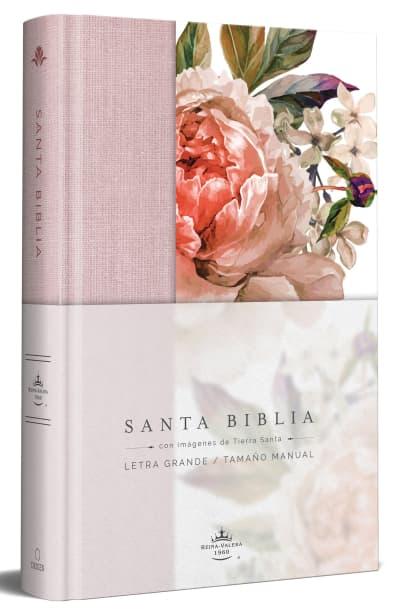 Biblia Reina Valera 1960 letra grande. Tapa Dura, Tela rosada con flores, tamaño manual/Spanish Bible RVR 1960. Handy Size, Large Print, Hardcover, Pink by Reina Valera Revisada 1960