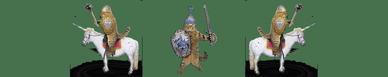 Three cats dressed as knights, riding unicorns