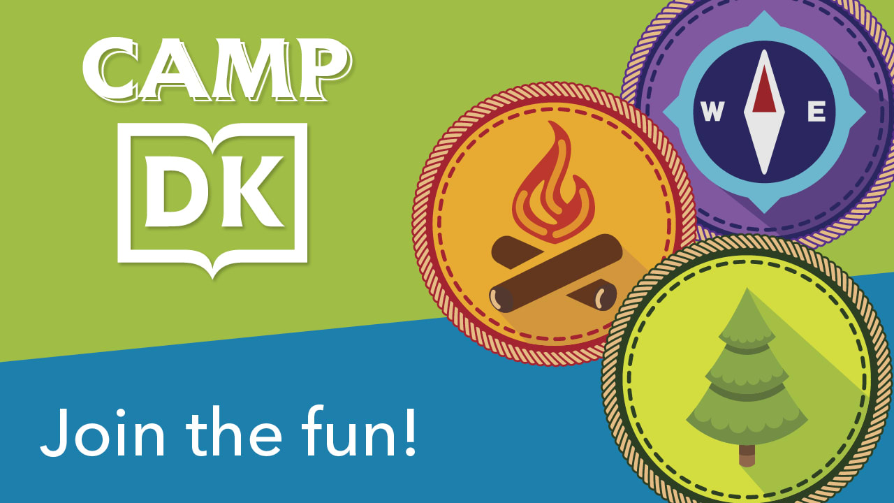 """A promotional image for DK's """"Camp DK"""" summer newsletter series, with text """"Join the fun!"""" and several illustrated camp badges"""