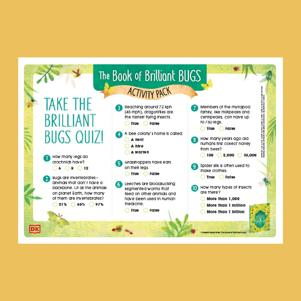 An image of the the quiz page from DK's downloadable activity pack for The Book of Brilliant Bugs