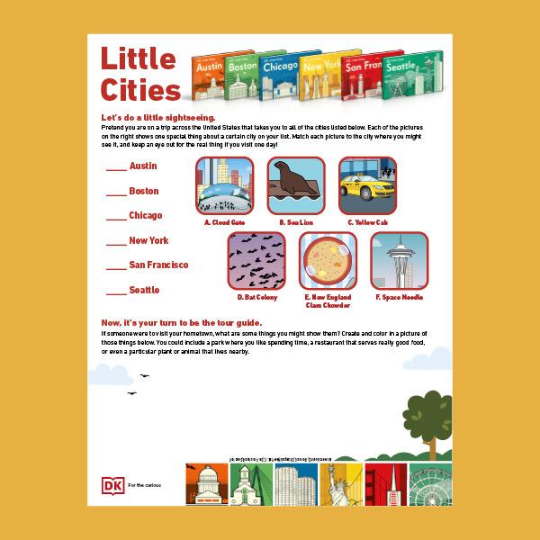 An image of DK's downloadable Little Cities activity sheet
