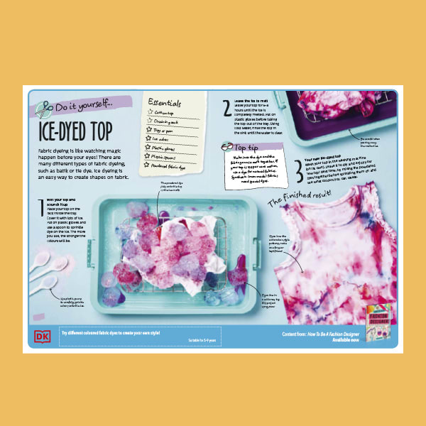 Instructions for creating an ice-dyed top, with content taken from DK's How to Be a Fashion Designer