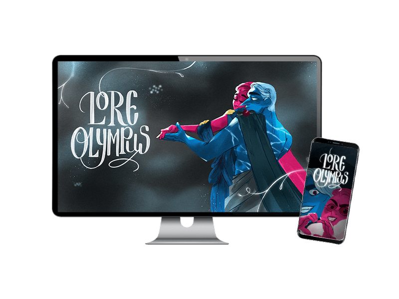 Desktop and mobile phone with custom Lore Olympus wallpapers featuring Hades and Persephone