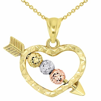 14k Tri-Color Gold Beaded Cupid's Love Arrow Through Textured Small Heart Pendant Necklace with Cable, Cuban, or Figaro Chain