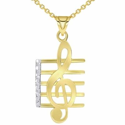 14k Yellow Gold Textured G Clef Musical Note On Staff Pendant Necklace with Cable, Cuban, or Figaro Chain