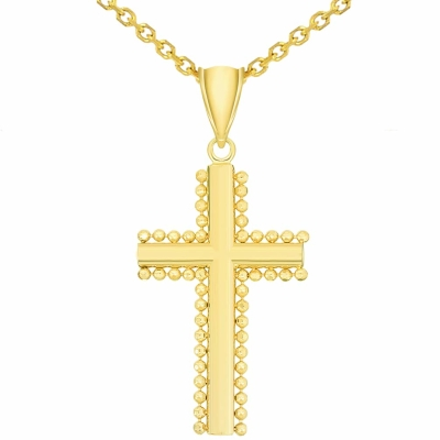 Solid 14k Yellow Gold Beaded Edged Plain Religious Cross Pendant with Figaro Chain Necklace, 22""