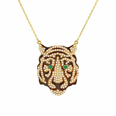 "Solid 14k Gold Tiger Head Charm Pendant Necklace 16""+2"" Extender with Cubic Zirconia"