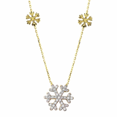 "14K Yellow Gold Cubic Zirconia Accented Snowflake Charm Pendant Necklace 16""+2"" Extender"