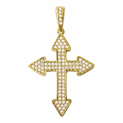 High Polish 14K Gold Cross Crucifix Charm Pendant with Cubic Zirconia