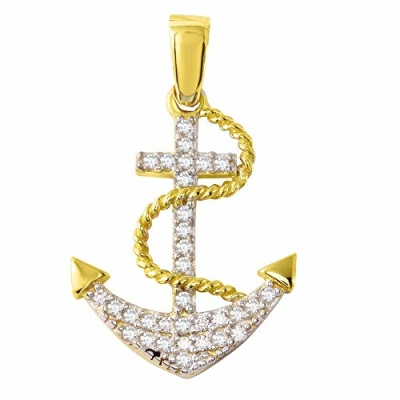 Nautical by Jewelry America Polished 14K Gold Cubic Zirconia Navy Anchor Cross Charm Pendant