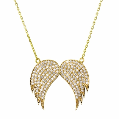 "Religious by Jewelry America Solid 14K Yellow Gold Angel Wings Pendant Necklace 16""+2"" Extender with Cubic Zirconia Gemstones"