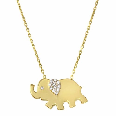 "Solid 14K Yellow Gold Elephant Charm Pendant Good Luck Necklace 16""+2"" Extender with Cubic Zirconia"