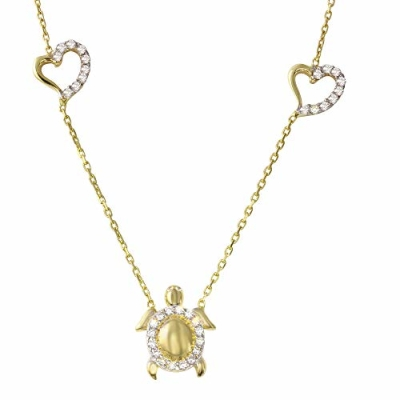 "Animal by Jewelry America Turtle with Heart Charm 14K Gold Cubic Zirconia Accented Tortoise Pendant Necklace 16""+2"" Extender"