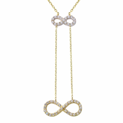 14K Two-Tone Gold Double Infinity Pendant Necklace with Cubic Zirconia Gemstones