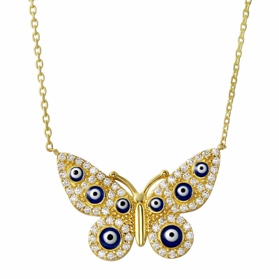 Solid 14K Yellow Gold Butterfly Blue Evil Eye Pendant Necklace with Cubic Zirconia Gemstones