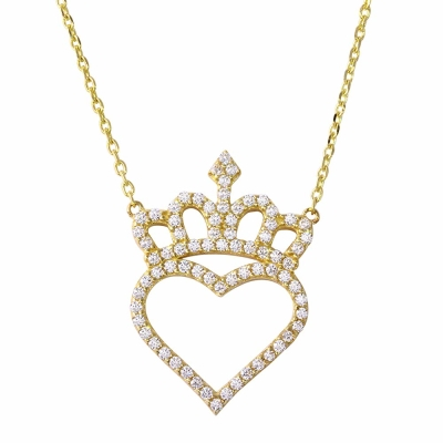 "Love by Jewelry America 14K Gold Cubic Zirconia Accented Heart with Crown Pendant Necklace 16""+2"" Extender"