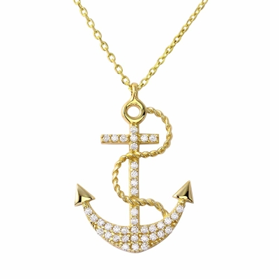 "Nautical by Jewelry America 14K Yellow Gold Cubic Zirconia Accented Navy Anchor Pendant Necklace 16""+2"" Extender"