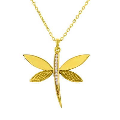 "14K Yellow Gold Cubic Zirconia Accented Dragonfly Pendant Necklace 16""+2"" Extender"