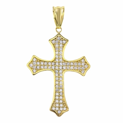 Religious by Jewelry America Solid 14K Gold Eastern Orthodox Cubic Zirconia Cross Crucifix Charm Pendant