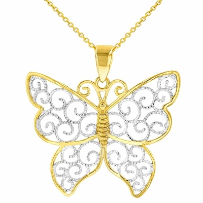 14K Yellow Gold Two Tone Butterfly with Milgrain Edged Filigree Pendant Necklace