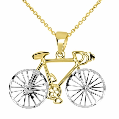 14k Yellow Gold Two-Tone Bicycle Bike with Textured Wheels Pendant Necklace