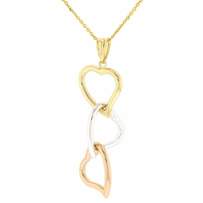Polished 14k Tri Color Gold Curved Heart Pendant Dangling Necklace