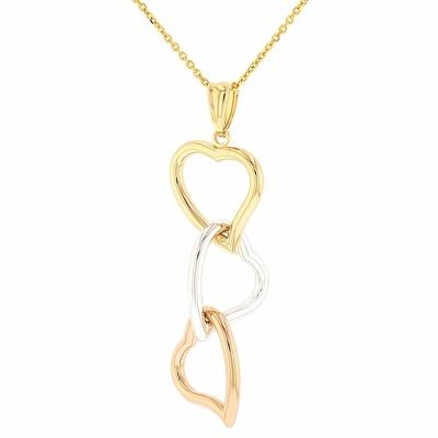Polished 14k Tri Color Gold Curved Heart Pendant Dangling Necklace