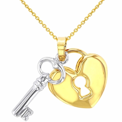 Polished 14K Yellow Gold Heart with White Gold Love Key Pendant Necklace