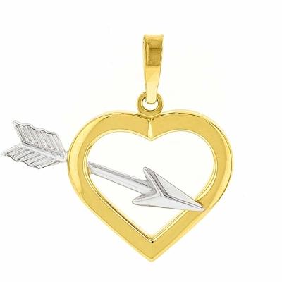 High Polish 14k Yellow Gold Love Arrow Through Open Heart Pendant