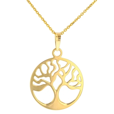 Solid 14k Gold Tree of Life Disk Chain Pendant Necklace