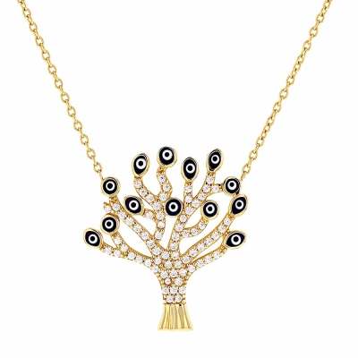 """Solid 14K Gold Cubic Zirconia Accented Tree of Life with Evil Eye Pendant Necklace 16"""""""