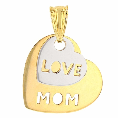 Solid 14K Two-Tone Gold Love Mom Double Heart Pendant with High Polish