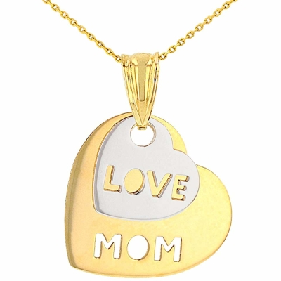 Solid 14K Two-Tone Gold Love Mom Double Heart Pendant Necklace