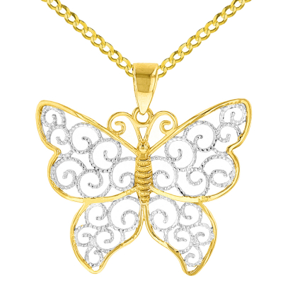 14K Yellow Gold Two Tone Butterfly with Milgrain Edged Filigree Pendant Cuban Necklace