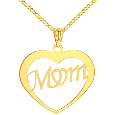 Solid 14K Yellow Gold Simple Heart with Mom Pendant Cuban Chain Necklace