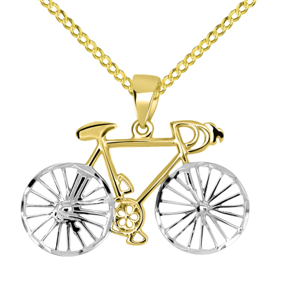 14k Yellow Gold Two-Tone Bicycle Bike with Textured Wheels Pendant Cuban Chain Necklace