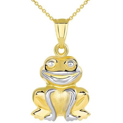High Polished 14K Yellow Gold Smiling Frog Charm 3D Animal Pendant Necklace