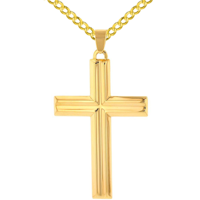 14k Yellow Gold Crucifix Large Religious Plain Cross Pendant with Cuban Chain Necklace