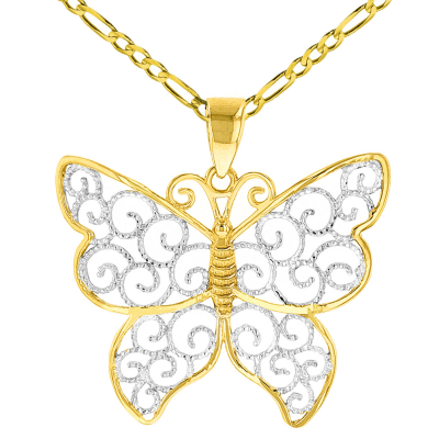 14K Yellow Gold Two Tone Butterfly with Milgrain Edged Filigree Pendant Figaro Necklace