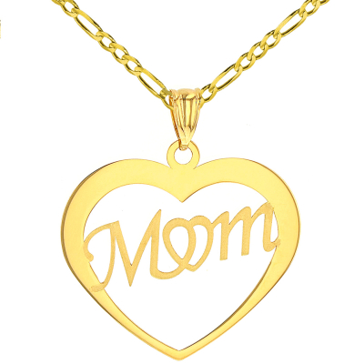 Solid 14K Yellow Gold Simple Heart with Mom Pendant Figaro Chain Necklace