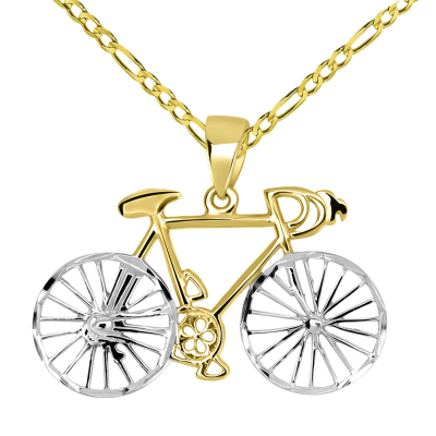 14k Yellow Gold Two-Tone Bicycle Bike with Textured Wheels Pendant Figaro Chain Necklace
