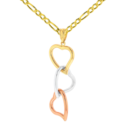 14K Yellow Gold, White Gold and Rose Gold Dangling Hearts Pendant with Figaro Chain Necklace