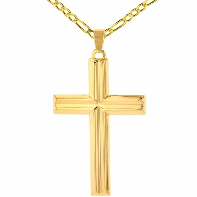 14k Yellow Gold Crucifix Large Religious Plain Cross Pendant with Figaro Chain Necklace