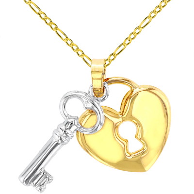 Polished 14K Yellow Gold Heart with White Gold Love Key Pendant Figaro Chain Necklace